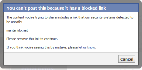 ventana spam facebook