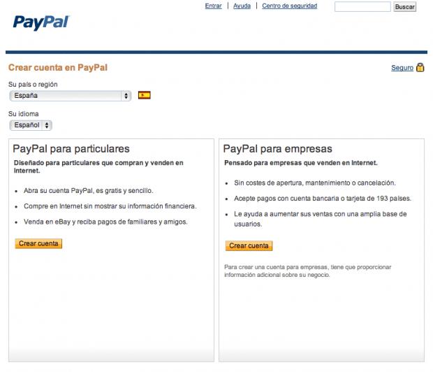 pantalla al crear cuenta de pay pal