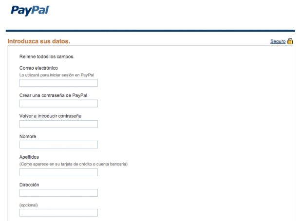 formulario a rellenar para crear una cuenta en paypal