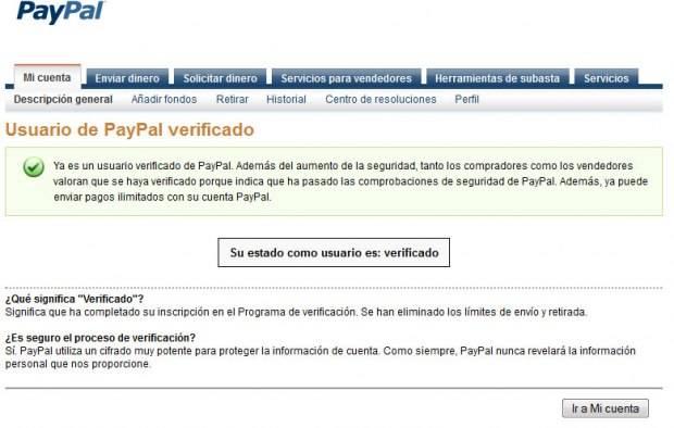 confirmacion verificación paypal